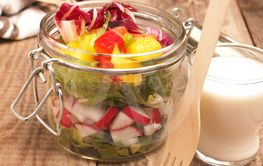 Tasty vegetarian salad in a jar
