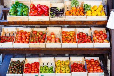Organic fresh tomatoes from mediterranean farmers market...