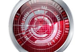 Abstract Radar Vector. Screen Over Square Grid Lines. HUD...