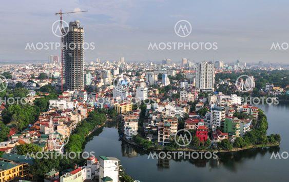 Skyline of Hanoi in Vietnam Asia late in the evening