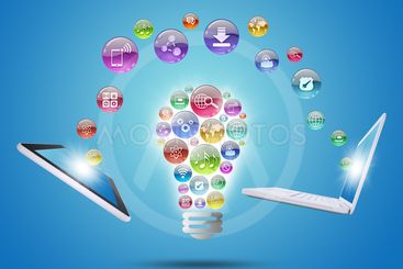 Lamp consisting of apps icons, tablet and laptop