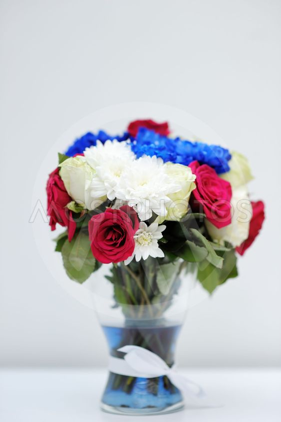 Bright blue and red bouquet