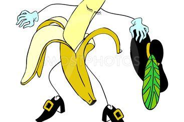 Human and Cartoon banana character vector