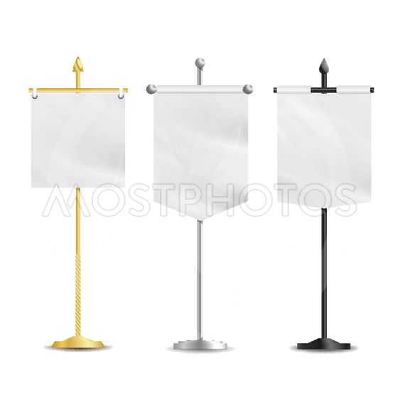 Vector Blank Table Flags. Vector Clean Mockup Isolated On...