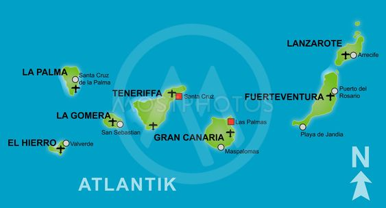 Map Of The Canary Islands By Kaarsten Mostphotos