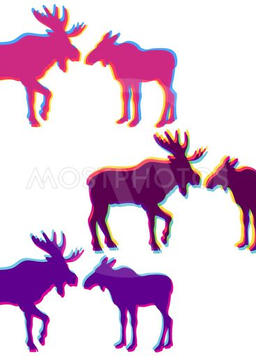 Two moose love silhouettes set, with multicolor stereo...