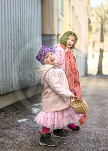 Two girls dressed as easter witches