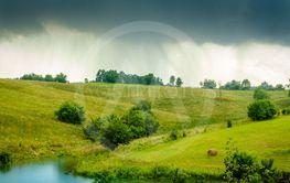 Rain over Kentucky countryside
