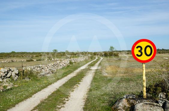 Speed limit sign at rural tracks in a plain grassland