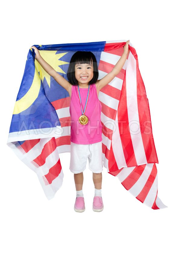 Asian Chinese little girl with Malaysian Flag