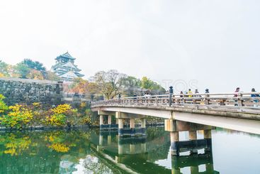 OSAKA, JAPAN - NOV 20 : Visitors crowded at Osaka Castle...
