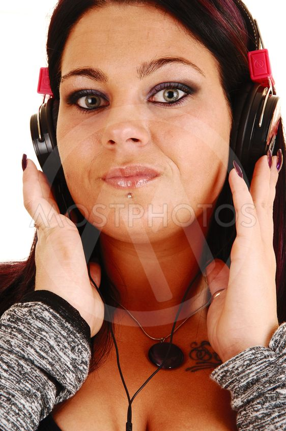 Closeup of girl with headphones.