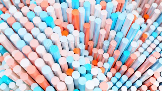 The background of the multi-colored cylinders is chaotic
