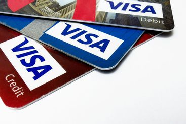 Choice of VISA credit and debit cards
