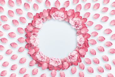 Spring background, round frame, a wreath of pink, red...