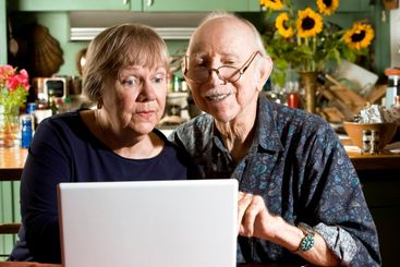 Senior Couple with a Laptop Computer