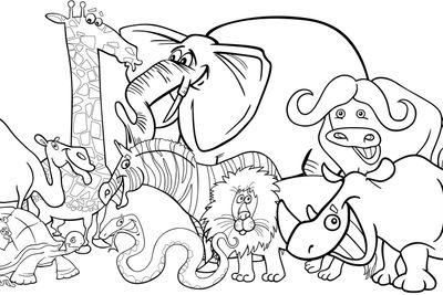 african safari animals cartoon for coloring