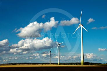 Wind turbines along the road