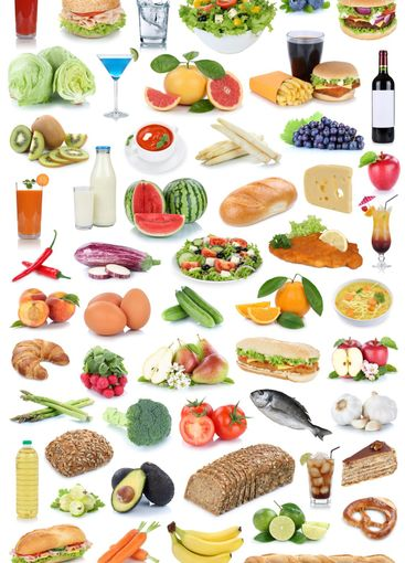Food and drink collection background fruits vegetables...