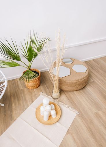 Palm tree in a pot and rattan decoration elements. Eco...