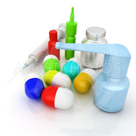 Syringe, tablet, pill jar. 3D illustration