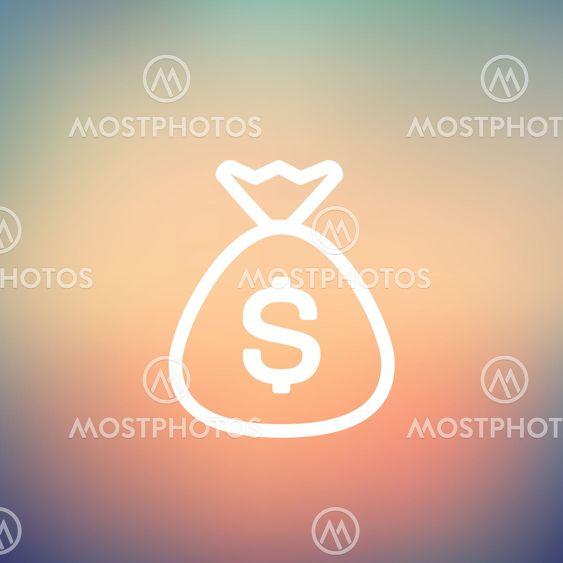 Money bag thin line icon