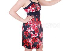 Pretty woman standing in colorful dress saying NO