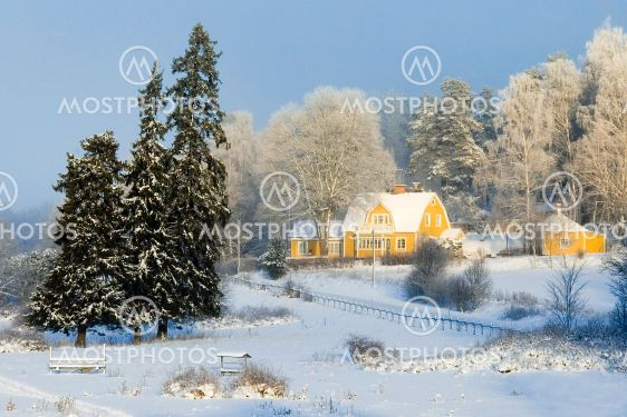 Swedish house in winter landscape