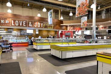 The deli counter of a Whole Foods Market grocery store