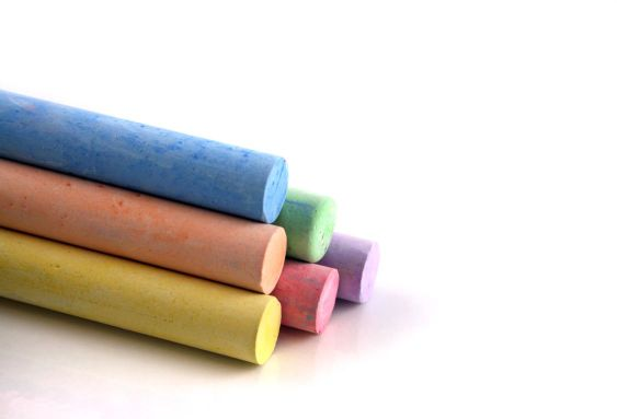 Pyramid of colored chalks