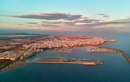 Aerial photo bird eye view Torrevieja cityscape, harbour...