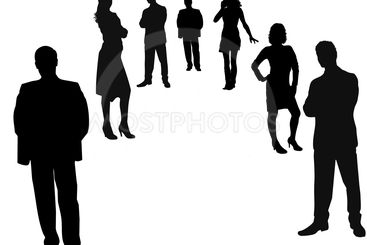 professional worker silhouettes