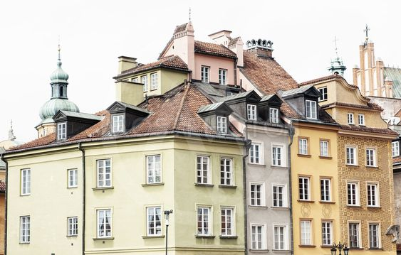 Beautiful houses in Old Town of Warsaw, Poland.