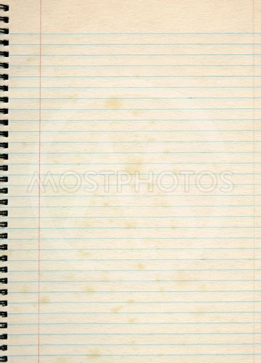 Old lined paper in a notepad.