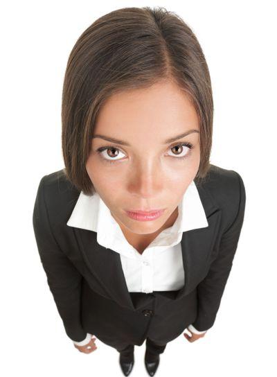 Bored sad businesswoman isolated
