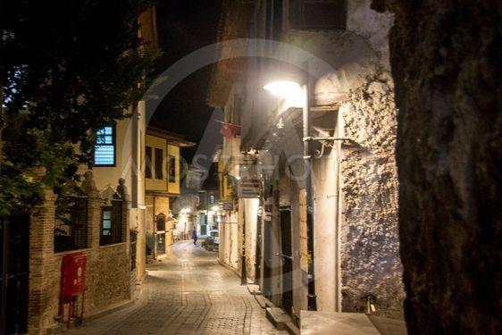 Street of old town Kaleici, Antalya Turkey at night time