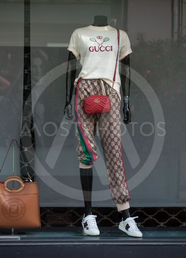 Closeup of summer clothes on mannequin  n Gucci store