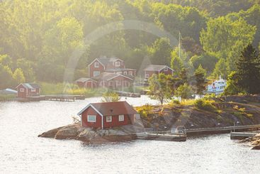 Small picturesque coastal village in a bay at the swedish...