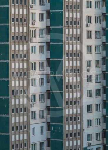 Socialistic facade of an apartment block