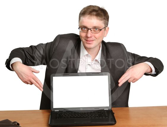 successful businessman with laptop Isolated on white