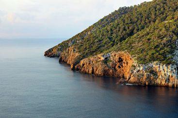 Idyllic coastal area of balearic island Ibiza with...