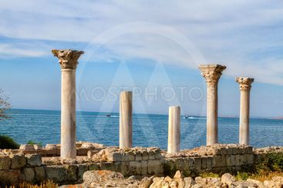 Ancient Greek basilica and marble columns