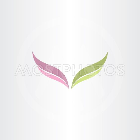 green and purple vector wings logo