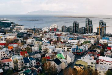 Beautiful view of Reykjavik, Capital of Iceland from the...