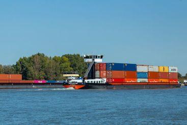 Cargo ships on Dutch river