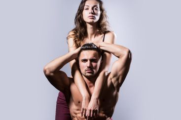 Sexy couple with muscular nude torso and athletic body...