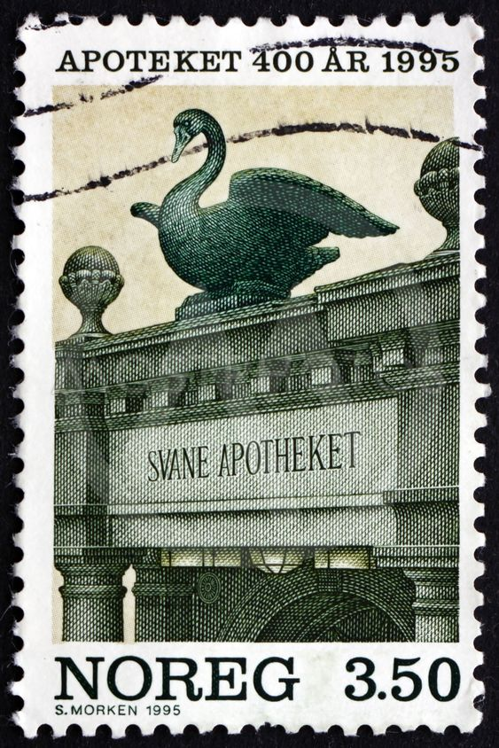Postage stamp Norway 1995 Swan Pharmacy, Bergen
