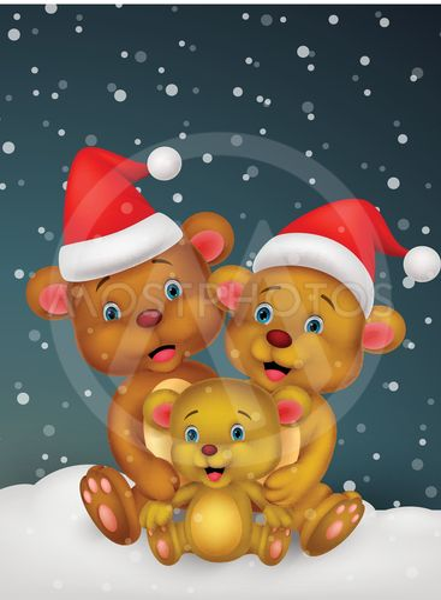 Happy brown bear cartoon family wearing red hat