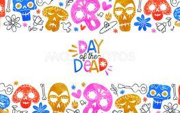 Day of the dead card multicolor watercolor skull art