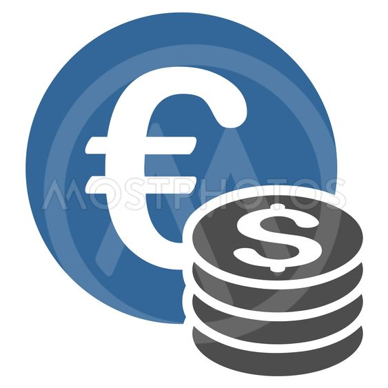 Euro and Dollar Coins Flat Vector Icon